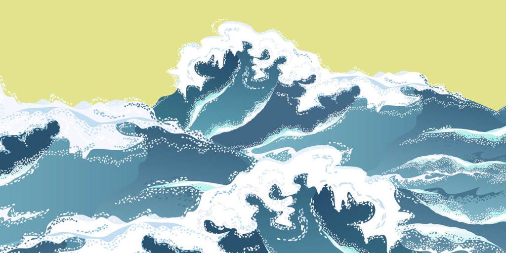 Illustrated open ocean waves